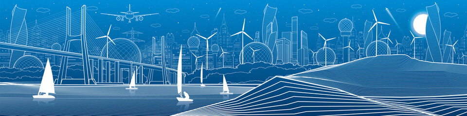 City infrastructure panoramic illustration. Big bridge across the river. Sea shore. Sailing yachts on the water. White lines on blue background. Vector design art