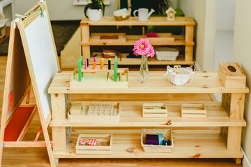 Shelving in a classroom with montessori material