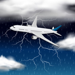 Airplane flying through a storm