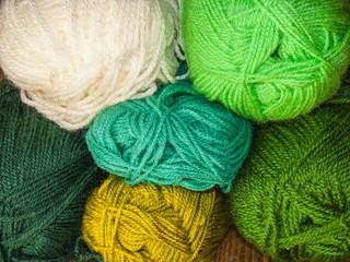 Colorful wool, green wool wall