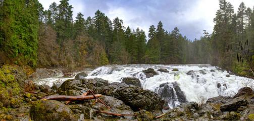 Panorama of Englishman River Falls upper waterfalls in Vancouver Island