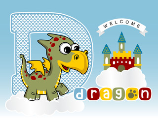 funny dragon with colorful castle on cloud, vector cartoon illustration