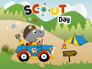 Little rhino  the scout boy on a car at scout day, vector cartoon illustration