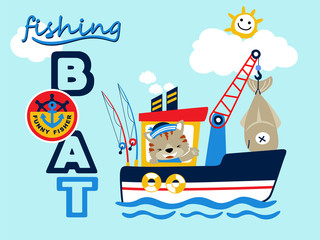 fishing boat cartoon vector with funny sailor