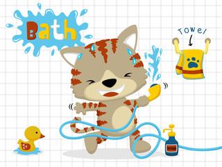 Vector cartoon of little cat in bathroom