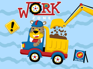 Vector cartoon of work zone