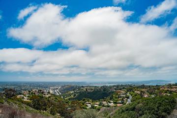 Aerial view of the beautiful landscape and cityscape around La Jolla area