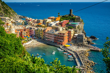 Horizontal View of the Coloured Town of Vernazza.