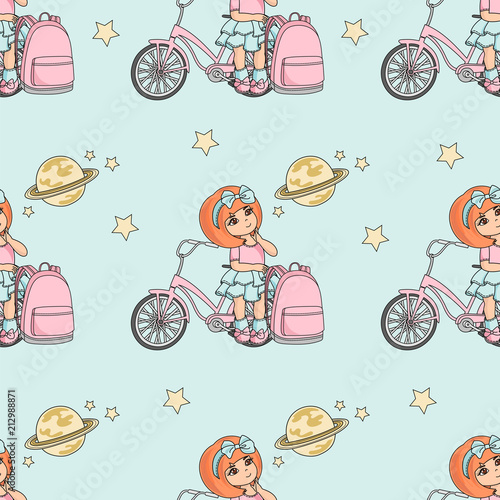 School Seamless Pattern Vector Illustration GIRL AND PLANET Paper For Birthday And Wedding Party Wall