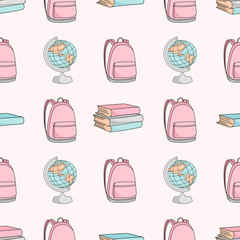 School Seamless Pattern Vector Illustration SCHOOL BAG AND GLOBE Paper for Birthday and Wedding Party, Wall Decorations, Scrapbooking, Baby Book, Photo Albums and Card Print