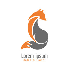 Creative modern fox logo design template two tone orange and gray color. Symbol wild animal isolated on white background, vector and illustration.