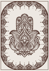 Greeting card with Iilustration of Hamsa with boho pattern. Henna Buddhas hand. Vector element for your sketch of tattoo, coloring book, T-shirt print and your design.