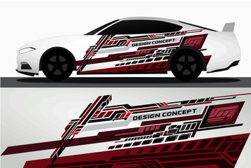 Vinyls sticker Decals for Car modify Motorcycle. Racing Vehicle Graphics kit isolated vector design race Elegant stripes modern red technology background for wrap and vinyl