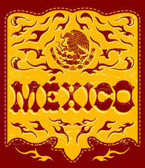 Traditional Mexico sign western style, mexican poster, card invitation with Mexican flag colors