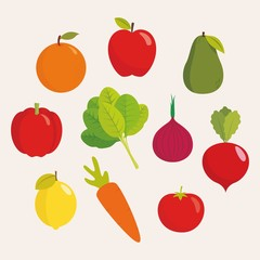 Set of fruits and vegetables illustration vector
