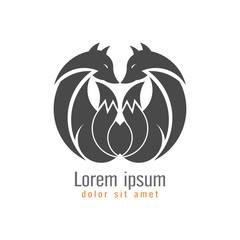 Creative modern fox logo design template gray color. Symbol wild animal isolated on white background, vector and illustration.