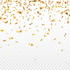 Stock vector illustration gold confetti isolated on a transparent background. EPS10
