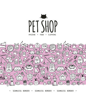 Pet shop background, seamless pattern for your design