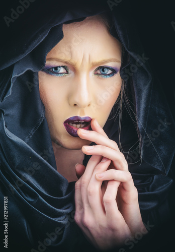 Gothic Fashion And Beauty Gothic Woman In Black Hood With Stylish
