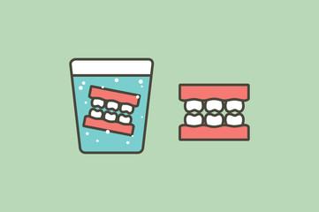 denture in glass, false teeth for adult - dental cartoon vector flat style