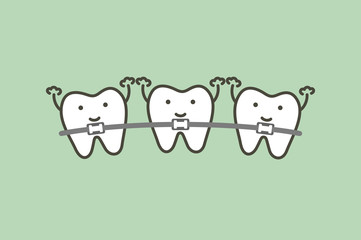 orthodontics teeth or dental braces - tooth cartoon vector flat style