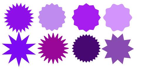Set of multicolor starburst stamps on white background. Badges and labels various shapes.  Vector illustration