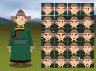 Mongolian Man Cartoon Emotion faces Vector Illustration
