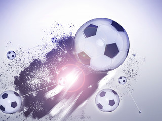 Soccer ball flying in abstract pattern.