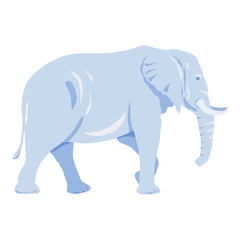 Cute big elephant silhouette isolated on white background, light blue and dark blue colors and shadows
