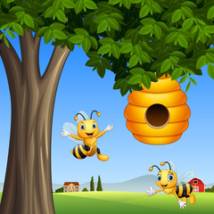 Cartoon bees with honey under a tree