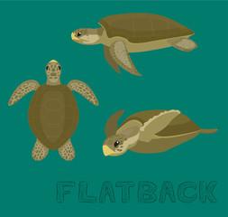 Sea Turtle Flatback Cartoon Vector Illustration