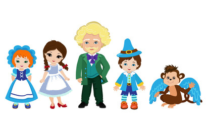 Illustration of Dorothy and the characters of the Emerald City. Wizard, flying monkey and munchkins.