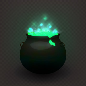 Stock vector illustration witches cauldron isolated on a transparent background. Brewed potion, decoction. Glowing fluid. EPS 10
