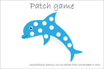 Education Patch game dolphin for children to develop motor skills, use plasticine patches, buttons, colored paper or color the page, kids preschool activity, printable worksheet, vector illustration