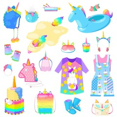Unicorn vector cartoon kids accessories or clothing in girlish horse with horn style and colorful ponytail illustration set of fantasy child ponytailed animal bags or isolated on white background