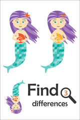 Find 3 differences, game for children, mermaid in cartoon style, education game for kids, preschool worksheet activity, task for the development of logical thinking, vector illustration