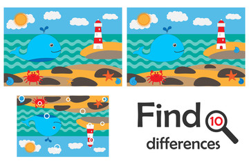 Find 10 differences, game for children, ocean life in cartoon style, education game for kids, preschool worksheet activity, task for the development of logical thinking, vector illustration