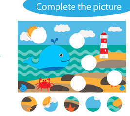 Complete the puzzle and find the missing parts of the picture, ocean life,  fun education game for children, preschool worksheet activity for kids, task for the development of logical thinking, vector