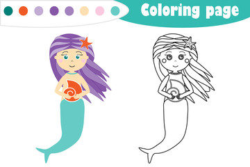 Mermaid in cartoon style, coloring page, education paper game for the development of children, kids preschool activity, printable worksheet, vector illustration