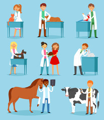 Veterinary vector veterinarian doctor man or woman treating pet patients cat or dog illustration set of vet people with animalistic characters in vetclinic isolated on background