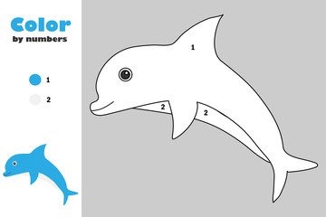Dolphin in cartoon style, color by number, education paper game for the development of children, coloring page, kids preschool activity, printable worksheet, vector illustration