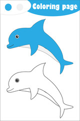 Dolphin in cartoon style, coloring page, education paper game for the development of children, kids preschool activity, printable worksheet, vector illustration