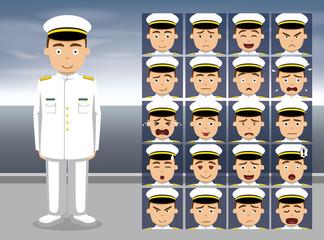 Navy Service Dress White Cartoon Emotion faces Vector Illustration
