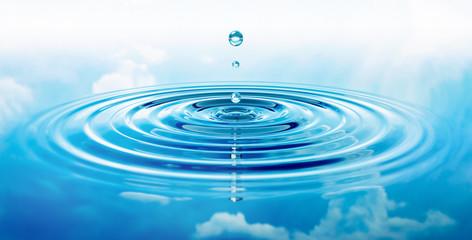 Wassertropfen und Wellen mit blauer Spiegelung von Wolken