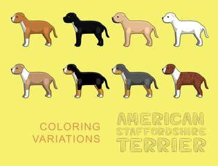 Dog American Stafforshire Terrier Coloring Variations Vector Illustration