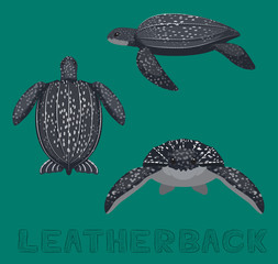 Sea Turtle Leatherback Cartoon Vector Illustration