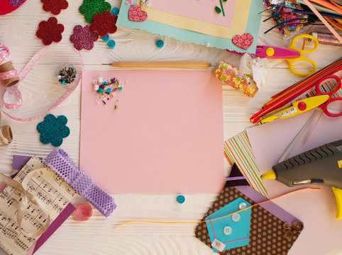 scrapbook background. Card and tools with decoration