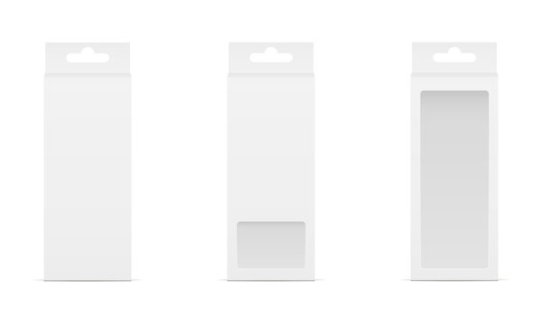 Set of three boxes with transparent window and hanger. Packaging for mobile accessories. Vector illustration