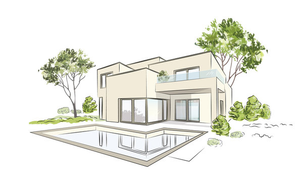 Architectural project exklusive detached house. Vector illustration