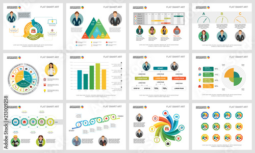 colorful consulting or banking concept infographic charts set